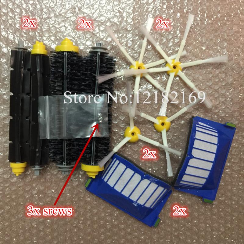 2 Blue AeroVac Filter + 4 main Brush kit+4 side brush 3 srews Replacement for iRobot Roomba 600 Series 620 630 650 660 accessory(China (Mainland))