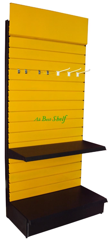 Shelf manufacture slat panel display supermarket gondola shelves metal store shelf display rack with advertising board(China (Mainland))