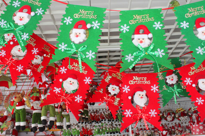 2017 merry christmas 6pcs lot santa hanging ornaments for Outdoor merry christmas ornaments