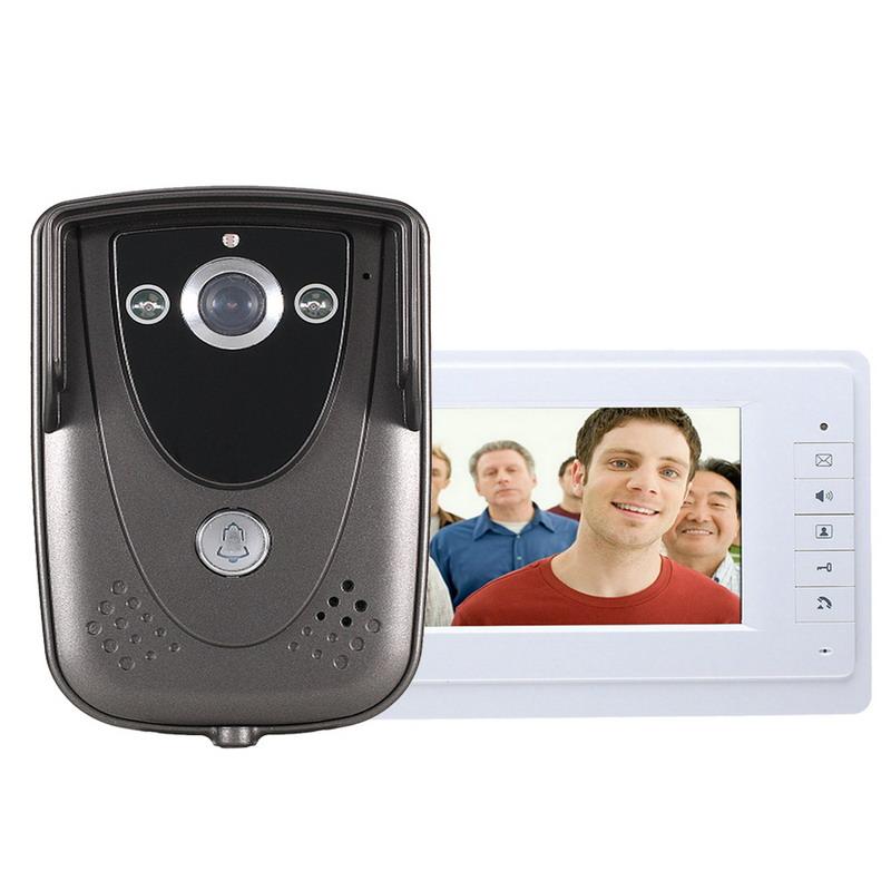 Гаджет  Hot sale 7 Inch Video Door Phone Doorbell Intercom Kit 1camera 1monitor Night Vision Free Shipping H1E1 None Безопасность и защита