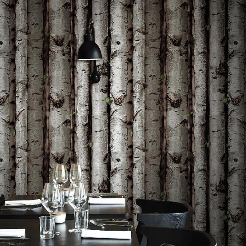 Modern brief birch tree wallpaper forest gray brown wall for Birch tree mural wallpaper