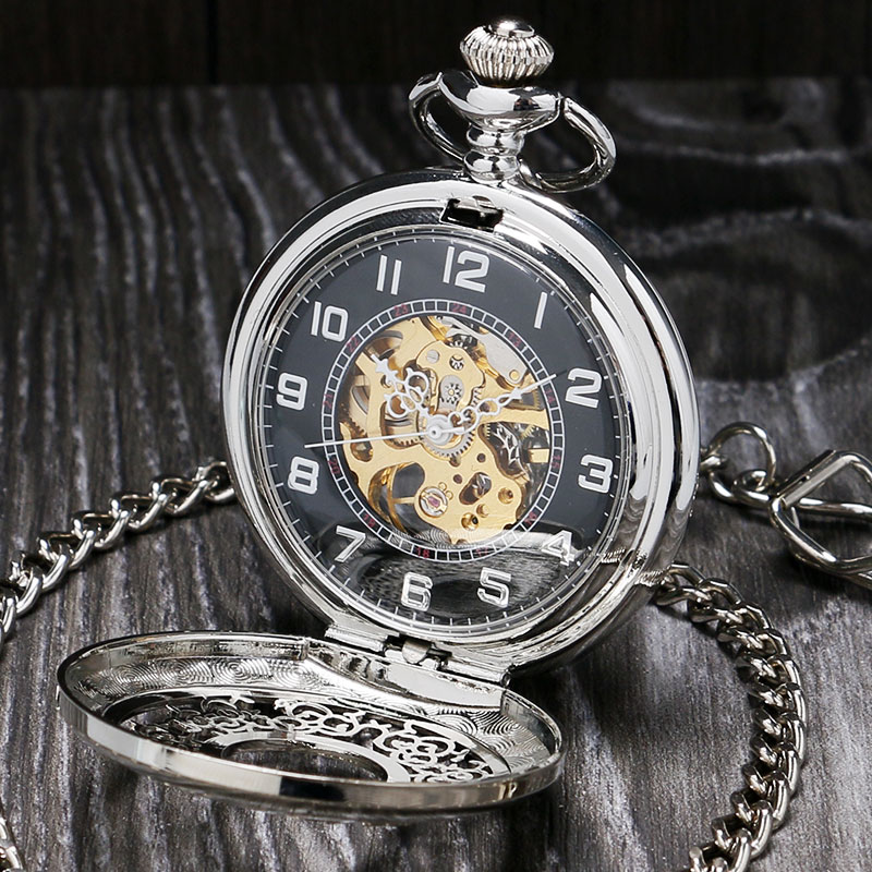vintage silver pocket with chain mechanical watches
