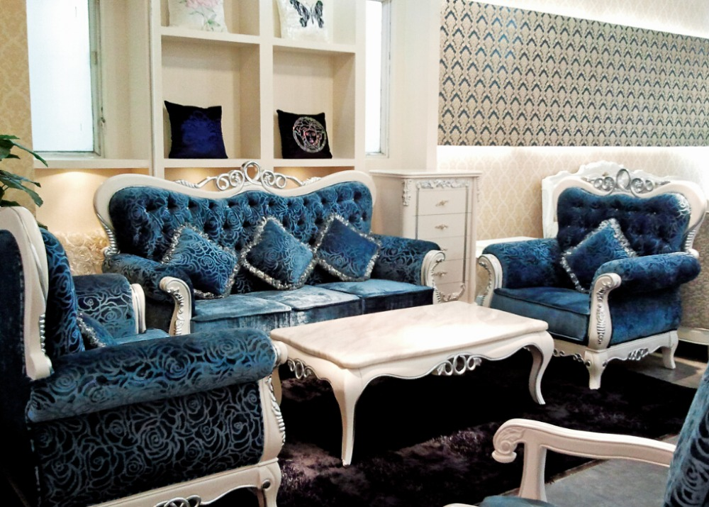 Italian Blue Fabric Sofa Sets Living Room Furniture Antique Style Wooden Sofa Baroque Furniture