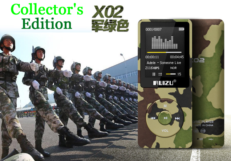 Camouflage Original RUIZU X02 No Loss MP3 Player Light Sports MP 3 8 GB 1.8 Inch Screen 8GB Storage Can Play 80hour,Gift + Track(China (Mainland))