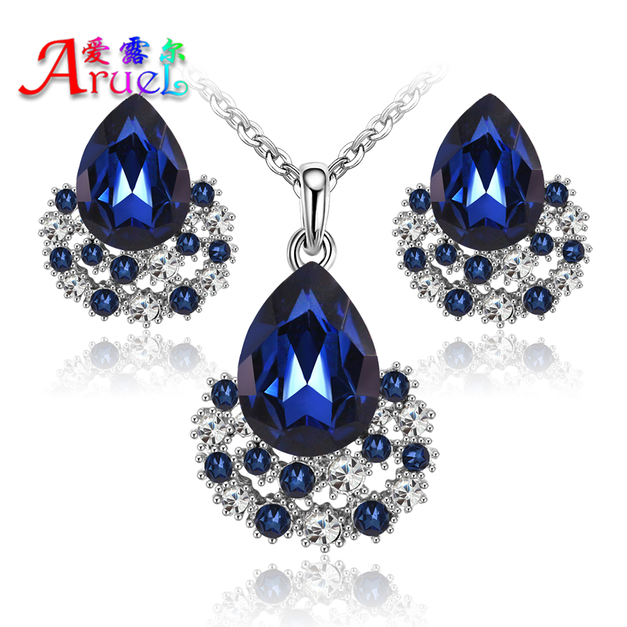 fashion Austria Crystal sapphire necklace earring sets wedding bridal party rhinestone girls african jewelry set for women gift(China (Mainland))