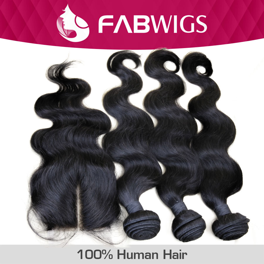 Peruvian Virgin Hair with Closure 4pcs Lot Body Wave Lace Closure With 3pcs Bundles Unprocessed Human Hair Weave Extension(China (Mainland))