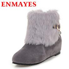 ENMAYES Nueva Cálido Invierno Nieve Botas de Mujer Zapatos de Tacones Altos de Tobillo cargadores para Las Mujeres Negro Plataforma Punta Redonda Zapatos de Gran Tamaño 34-43(China (Mainland))