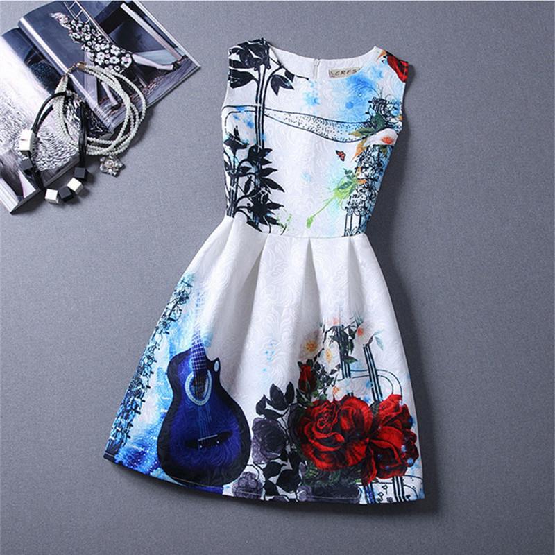 2016 New Kids Girls Summer Dress Flower Printed Sleeveless Formal