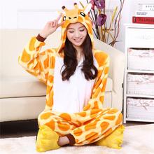 Adults Flannel Pyjama Suits Giraffe Cosplay Costumes Unisex Garment Cute Cartoon Animal Onesies Pajamas