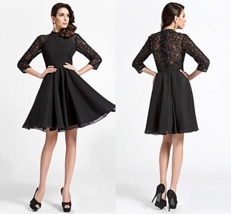 Long Sleeve Black Cocktail Dresses