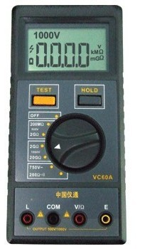 Zhuhai Ivan VC60A megger digital insulation resistance tester 31/2 place for fire(China (Mainland))