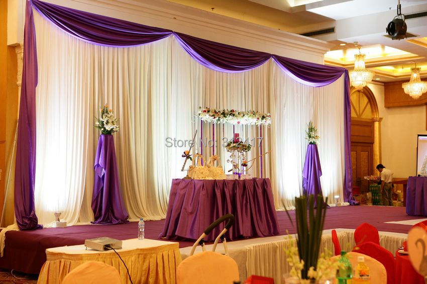 Wholesale and retail 10x20 white and purple backdrop for Backdrops for stage decoration