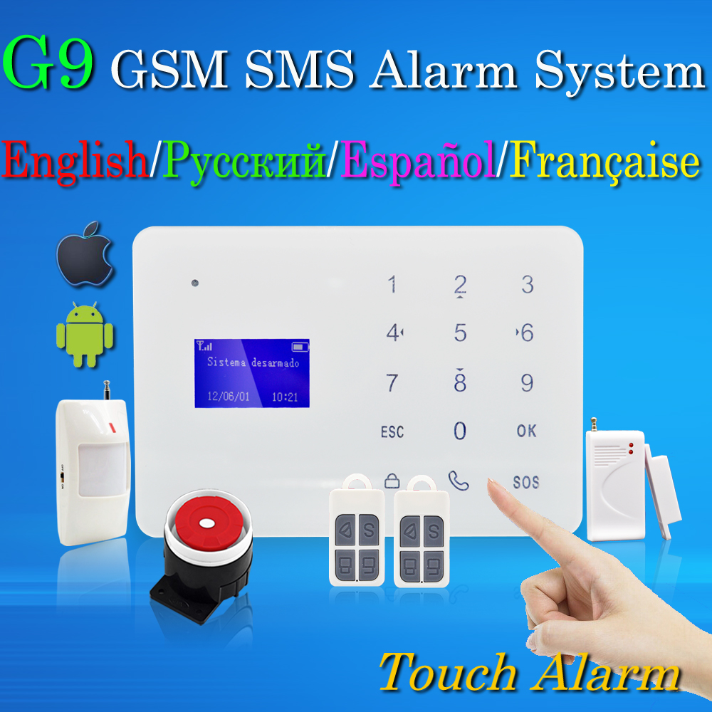 Free Shipping Wireless Home Burglar GSM SMS Alarm System 433MHz English Russian Spanish French Language better than wifi alarm(China (Mainland))
