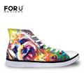 Famous Brand Designer Women Shoes YorkshireTerrier Painting High Top Canvas Shoes Girls Flats Casual Walking Shoes
