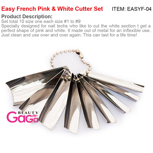 9 Sizes/set Nail art Manicure Easy French Smile Acrylic Gel Pink & White Cutter Set Q-French Art Design Nail Tools(China (Mainland))