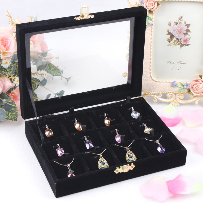 Free shipping 12 Lattice Red color Jewelry Display Rings or Pendant Organizer Show Case Holder Box(China (Mainland))