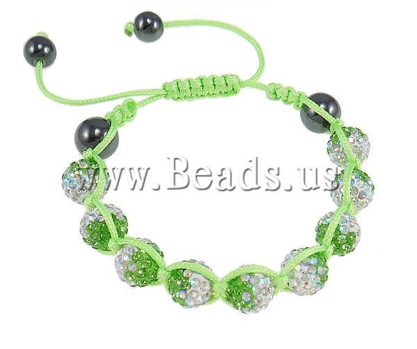 Free shipping!!!Rhinestone Shamballa Bracelets,Lucky, Clay, Round, handmade, with rhinestone, liht reen, 10mm, Lenth:7.5 Inch<br><br>Aliexpress