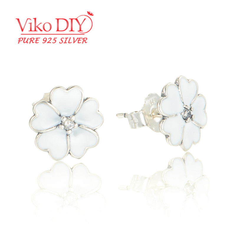 5pcs/lot Wholesale Cute Silver 925 Double Stud Earrings Enamel Flower Shaped Earrings For Women Diy Viko Jewelry ER119<br><br>Aliexpress