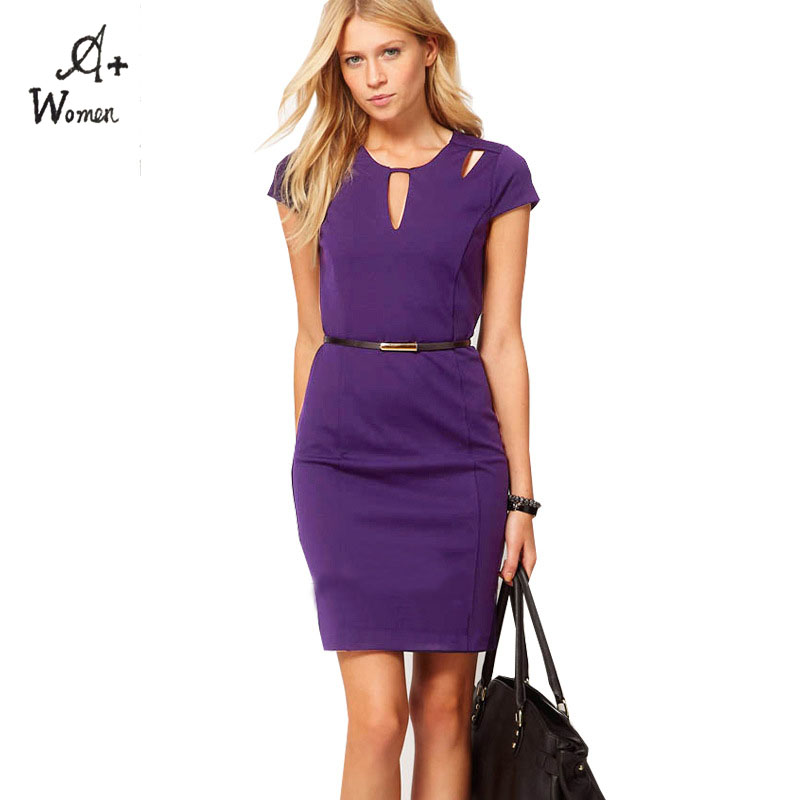 Buy This High Quality Purple Hollow Out Design Slim OL Dress Evening Party Sexy Package Pencil Dresses XXXL Plus Size for Women(China (Mainland))