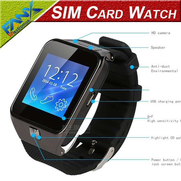 Free Shipping Bluetooth Smart Watch WristWatch W2 Support SIM Card for Samsung S2/S3/S4/Note 2/Note 3 HTC Sony Android Phone(China (Mainland))