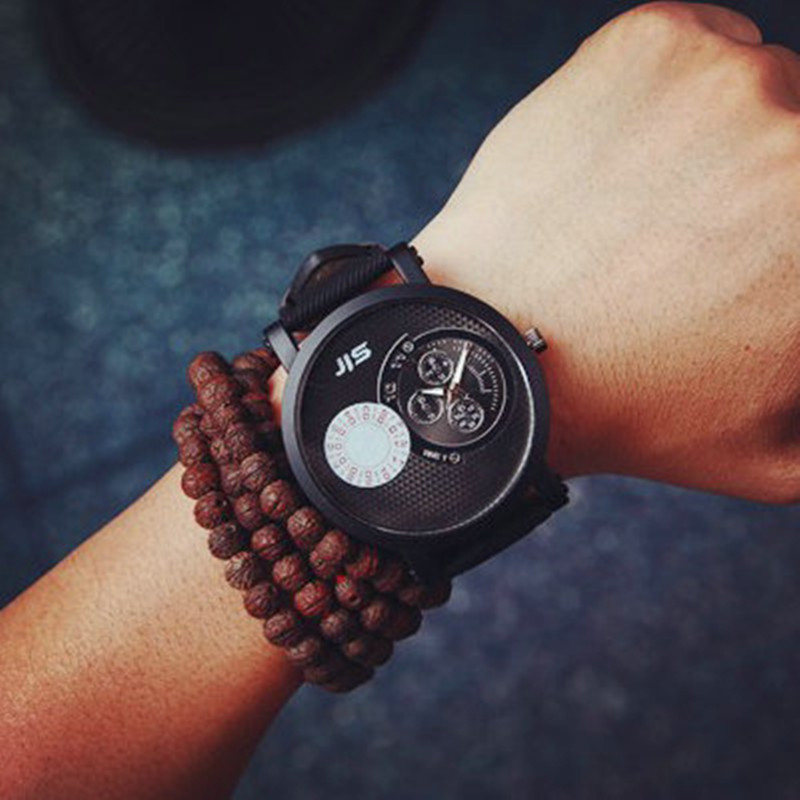 Man's Glass Acrylic Watches New 2015 Top Fashion Water Resistant Large Dial Retro Style Canvas Strap Quartz Coffee Color Watch(China (Mainland))