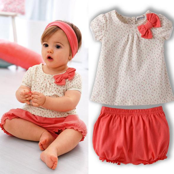 Princess Girl Baby Dots Bow Short Sleeve Tshirt Short Pants 2Pcs Clothes Costume