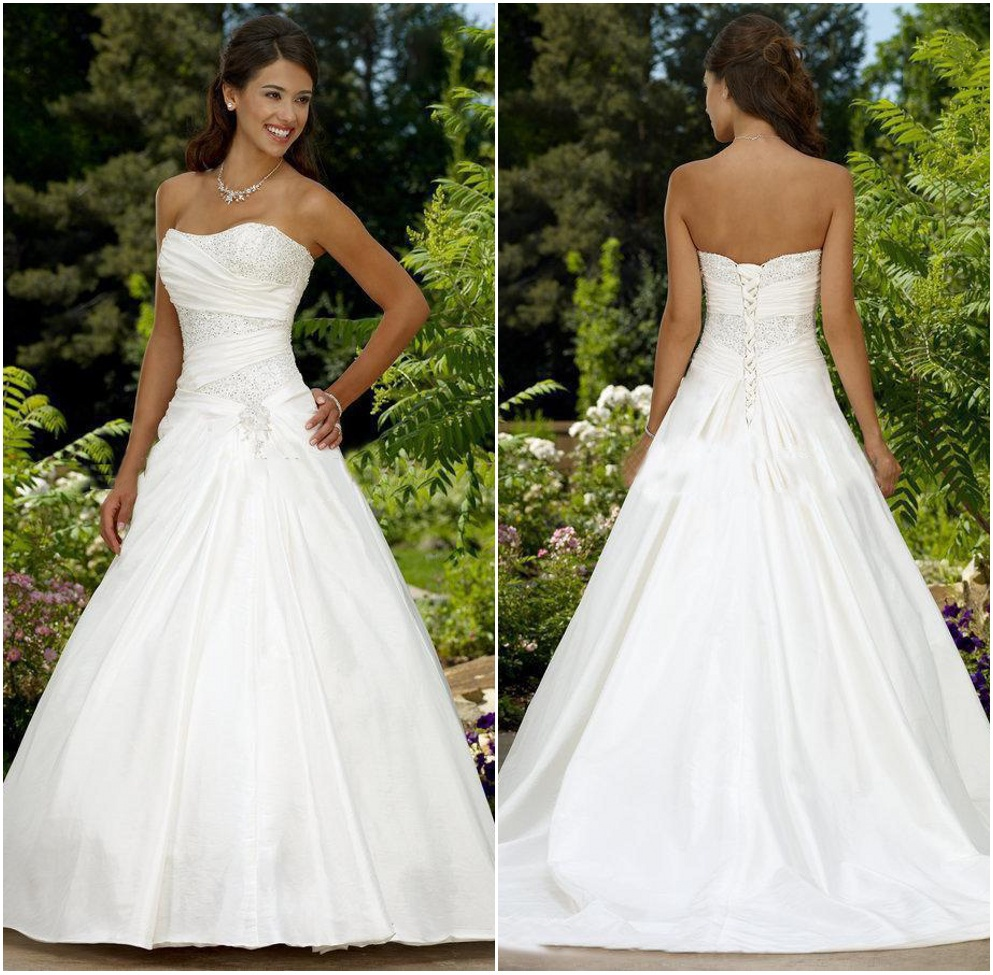Catherine top quality sweetheart empire beaded taffeta a for Top of the line wedding dresses