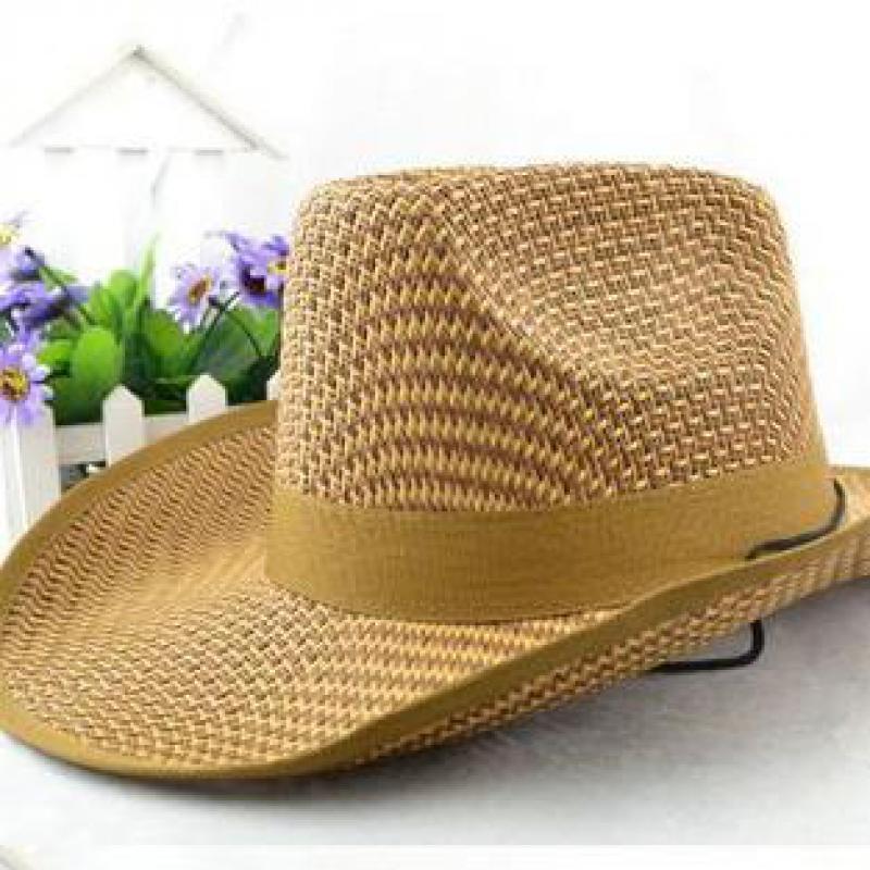 YOCCAS In Summer Men's Cowboy Hat Big Sunscreen Breathable Along The Beach Yiwu Sinamay Hats Boys Fedora(China (Mainland))