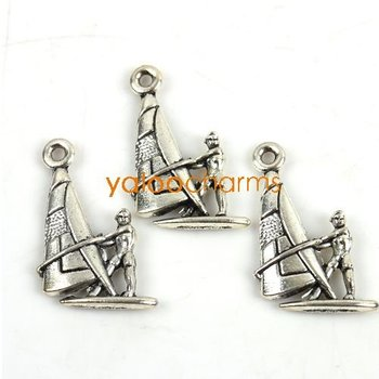 Wholesale-100pcs New Charms  Tibetan silver Sailing boat shape Pendants Zinc alloy Pendant fit necklace  22x13x3mm  141322-100