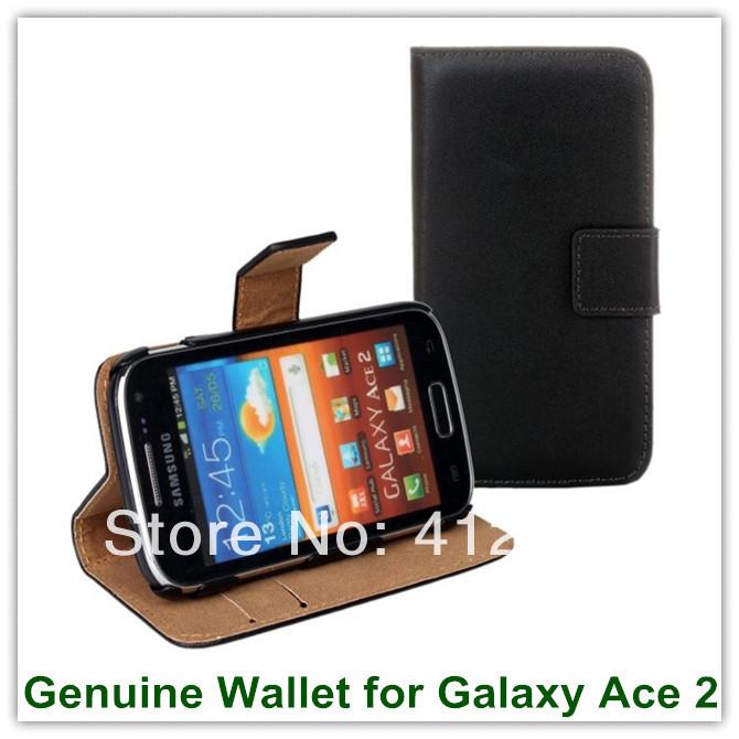 Здесь можно купить  10PCS Genuine Lesather Fashion Black Color Wallet Back Covers for Samsung Galaxy Ace 2 i8160 with Card Holder Free Shipping  Телефоны и Телекоммуникации