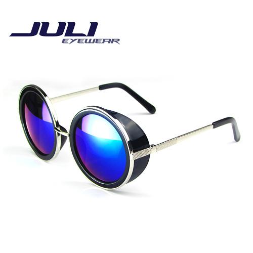 Coating Sunglass Steampunk Round Fashion Sunglasses Women Brand Designer Steam Punk Metal Sun Glasses Men Retro Oculos 66666C(China (Mainland))