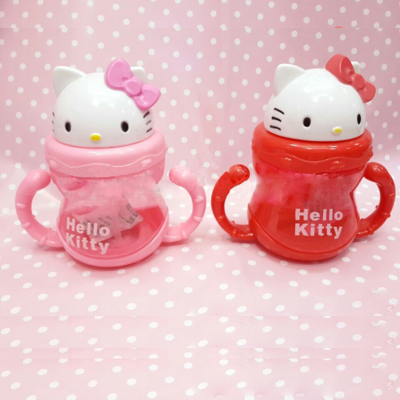 Baby bottle pp nursing baby straw kettle handle cup cartoon cat child milk water bottle kids water cup training water kettle