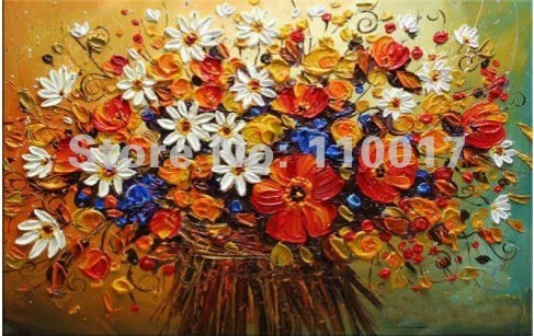 Free shipping Pop saled flower oil painting for home decoration