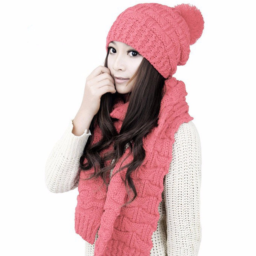 2017 Fashion Woman's Warm Woolen Winter Hats Knitted Skullies For Ladies Solid Warm Beanies Caps Hat +Long Knit Scarf Shawl Suit