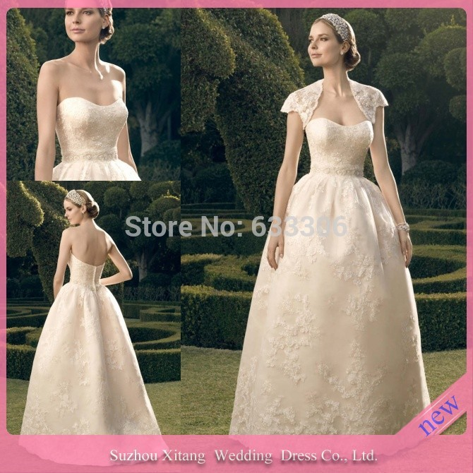 Beige Vintage Ball Gown Sweetheart Applique Lace Organza Pearls Floor Length wedding gowns dresses - Cloudup store
