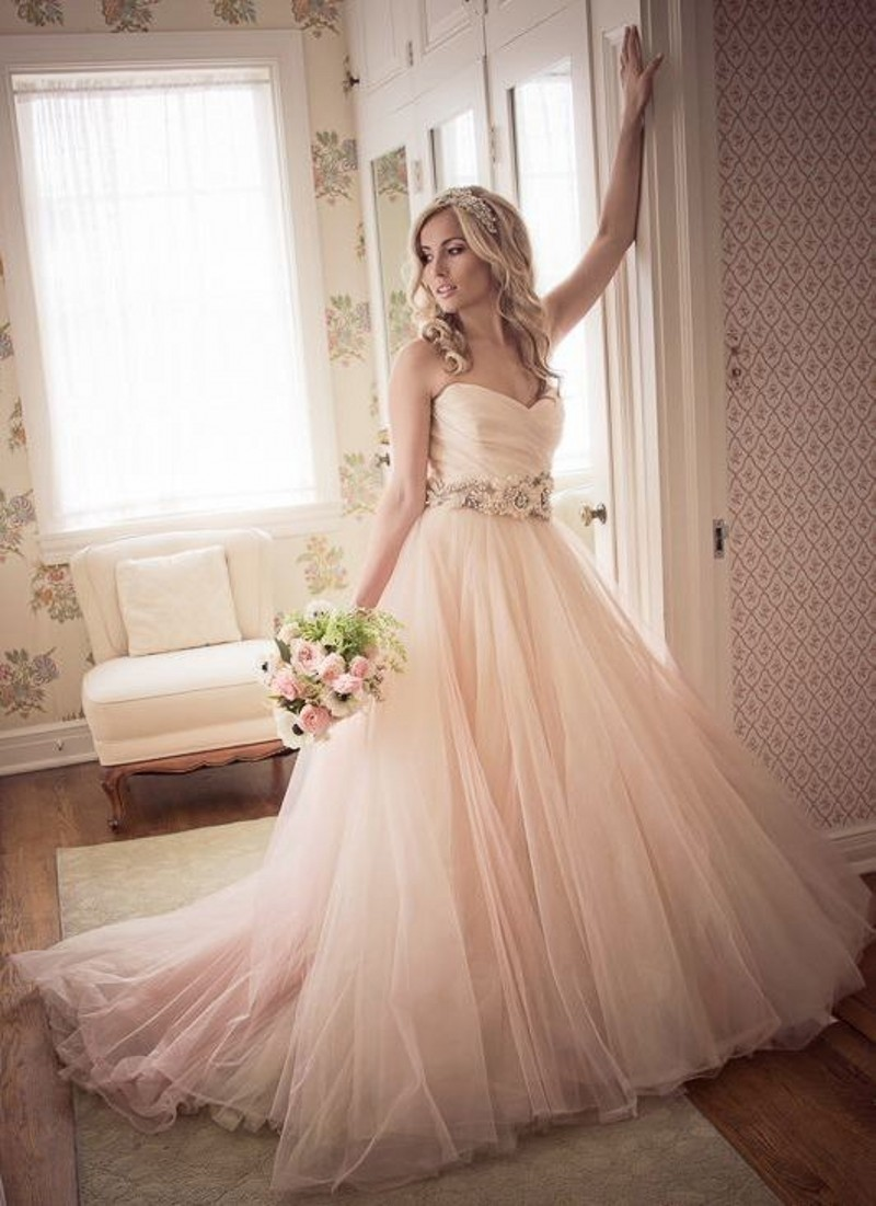 Popular peach colored wedding dresses buy cheap peach for Light colored wedding dresses