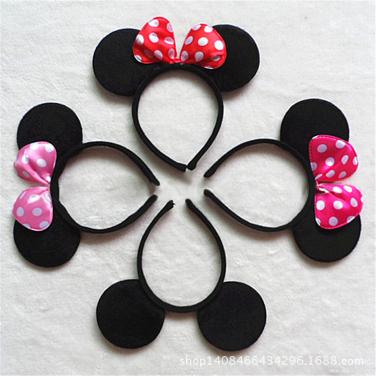 10PCS Cute Red Minnie Mickey Ear Baby Hair Accessories Minnie Mouse Party Bow Girls Headband kid birthday Headwear # B2243(China (Mainland))