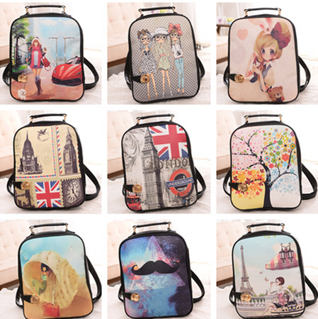 Wholesale Hot Selling Women pu Leather Backpacks Fashion Oil Painting Printing Vintage BackpacK Children Student School bag(China (Mainland))