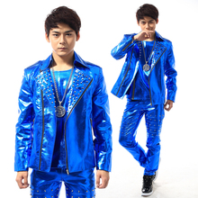 Jackets+pants+vest 2015 New Mens fashion cool Punk style PU leather Rivet jacket set bar male singer DJ performance costumes