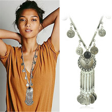 Bohemian Vintage Coin Long Pendant Necklace Silver Plated Chain Gypsy Tribal Ethnic jewelry Tassel Necklace for women X-611(China (Mainland))
