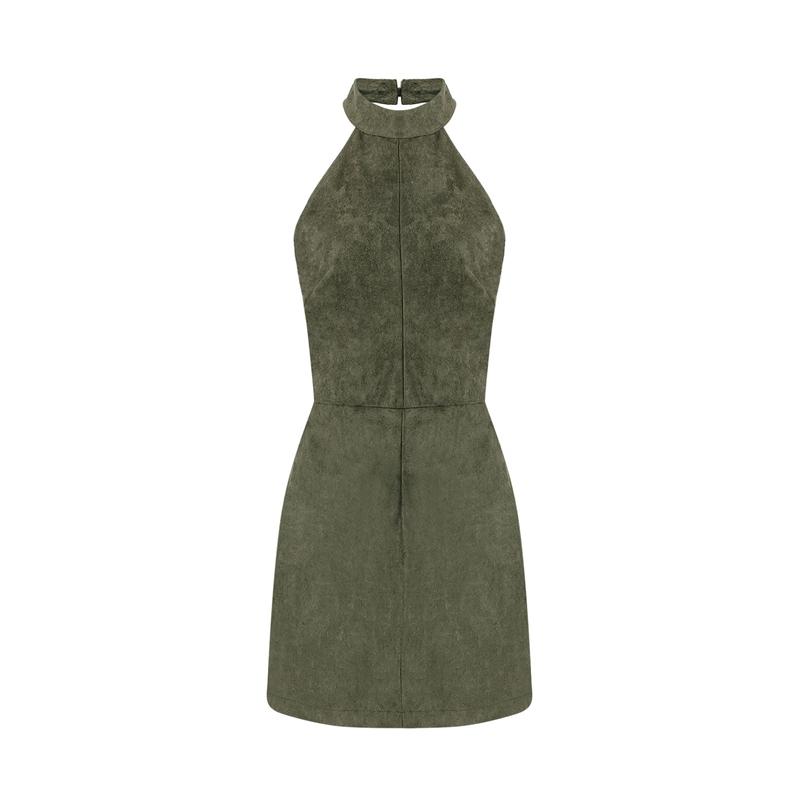 YOINS Summer Style Fashion Women Suede Dress Halter Neck Off Shoulder Sleeveless Mini Dress Sexy Backless Dress Vestidos