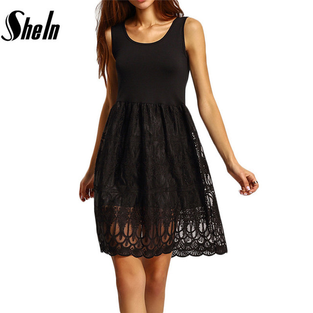 Shein свободного покроя женщин колен красивые дешевые платья лето 2016 сплошной черный без рукавов кружева чистой шею платье