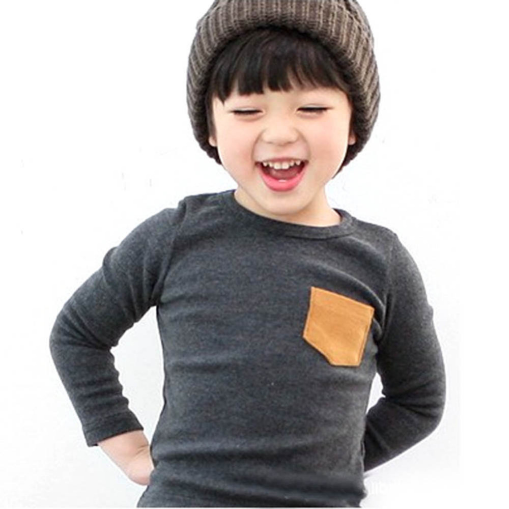 2-7Y Baby Kids Boys Girls Unisex Long Sleeve Clothes Crewneck Children T-shirts Pocket Decor Shirt Clothing PY1<br><br>Aliexpress