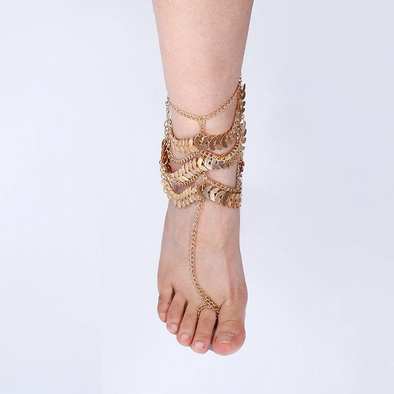 2016 NEW Fashion Anklets Leaf Around Gold Plated Foot Chain Barefoot Anklet For Women Jewelry(China (Mainland))