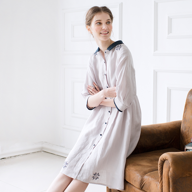 Fish island Master summer 2016 Nordic original design art embroidery Lapel cardigan seven sleeve dress 76A(China (Mainland))