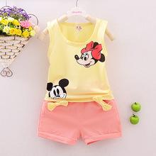 The new 2016 Summer fashion Leisure Cartoon Minnie children's clothing Set Girls Boys clothes baby wear sportswear + pants 2pc(China (Mainland))
