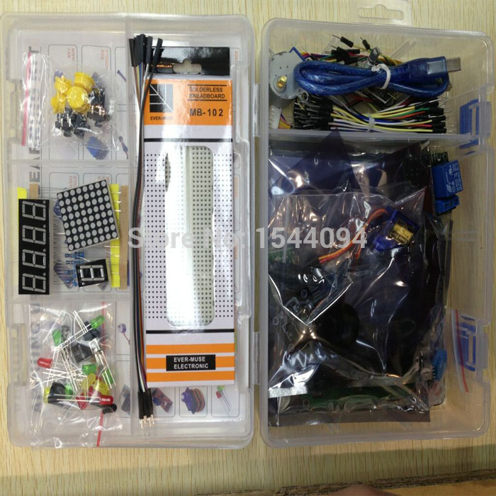 Kit for arduino uno with mega 2560 / lcd1602 / hc-sr04 /dupont line in plastic box(China (Mainland))