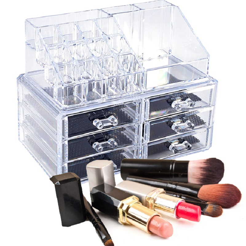 Shipping From US Portable Transparent Acrylic Cosmetic Organizer Drawer Makeup Case Storage Insert Holder Box(China (Mainland))