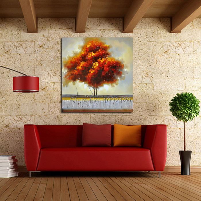 Hand Painted Autumn Big Tree Beautiful Landscape Oil Painting On Canvas Modern Abstract Wall Art For Living Room Home Decor(China (Mainland))