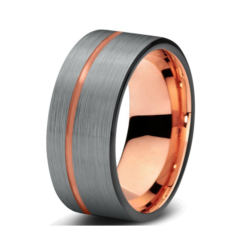 High quality black&rose gold tungsten ring nice wedding ring with size 4-size 17 available(China (Mainland))